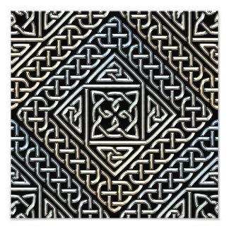 Silver Black Square Shapes Celtic Knotwork Pattern Photo Art