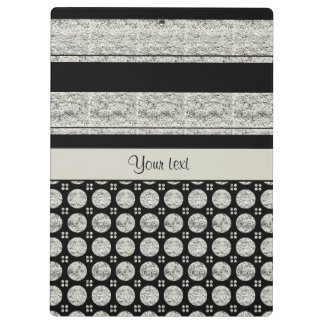 Silver & Black Stripes And Glitter Spots Clipboard