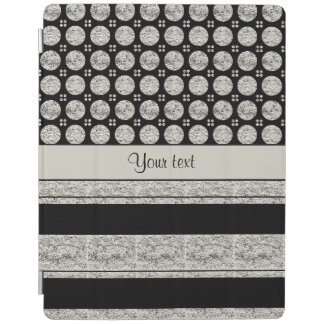 Silver & Black Stripes And Glitter Spots iPad Cover