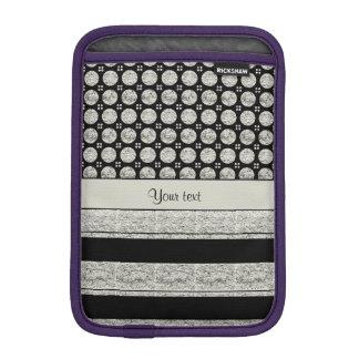 Silver & Black Stripes And Glitter Spots iPad Mini Sleeve