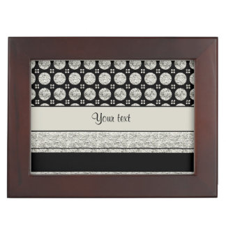Silver & Black Stripes And Glitter Spots Keepsake Box