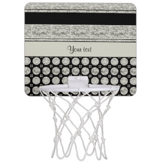 Silver & Black Stripes And Glitter Spots Mini Basketball Hoop