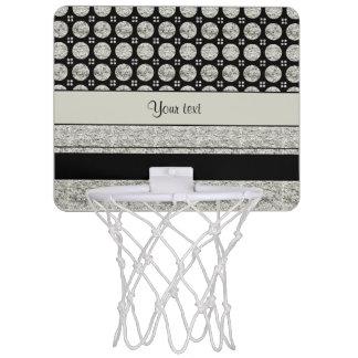 Silver & Black Stripes And Glitter Spots Mini Basketball Hoop