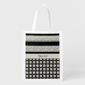 Silver & Black Stripes And Glitter Spots Reusable Grocery Bag