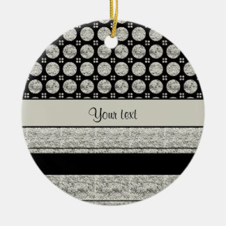 Silver & Black Stripes And Glitter Spots Round Ceramic Decoration