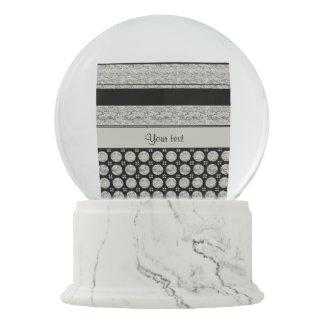 Silver & Black Stripes And Glitter Spots Snow Globe