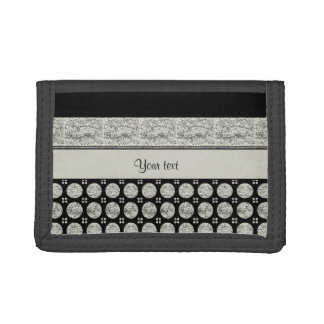 Silver & Black Stripes And Glitter Spots Tri-fold Wallet