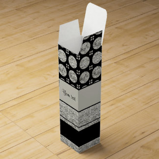 Silver & Black Stripes And Glitter Spots Wine Box