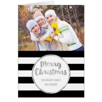 Silver Black Stripes Merry Christmas New Address Card