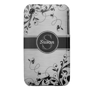 SILVER BLACK SWIRLS YOUR MONOGRAM iPhone 3 COVER