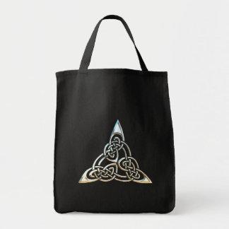 Silver Black Triangle Spirals Celtic Knot Design Grocery Tote Bag