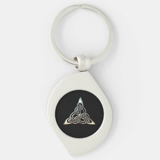 Silver Black Triangle Spirals Celtic Knot Design Key Ring