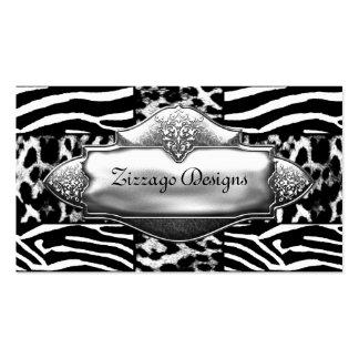 Silver Black White Leopard Zebra Stripe Pack Of Standard Business Cards