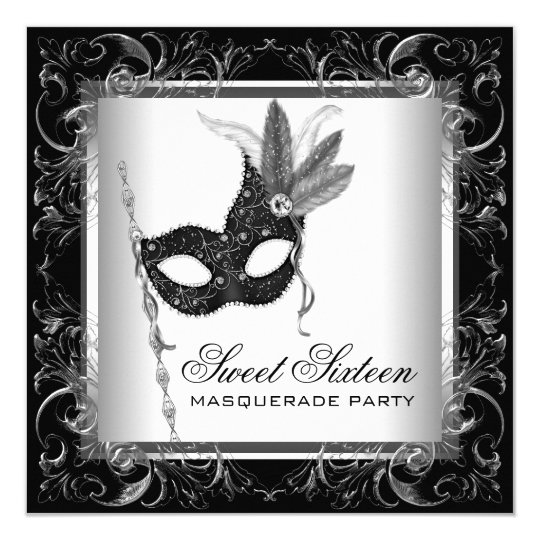 Silver Black White Sweet 16 Masquerade Party Invitation