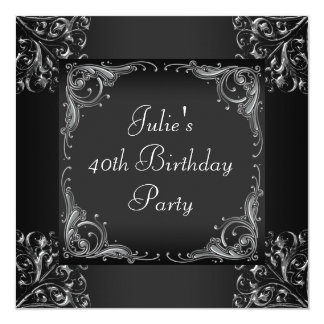 Silver Black Womans Birthday Party Card