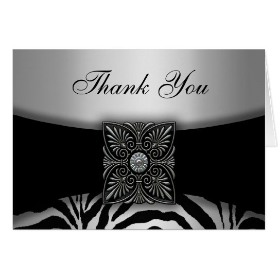 Silver & Black Zebra Thank You Cards