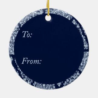 Silver Blue Christmas Tree Circle Ornament