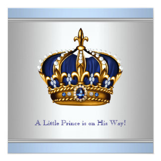 Silver Blue Crown Prince Baby Boy Shower Card