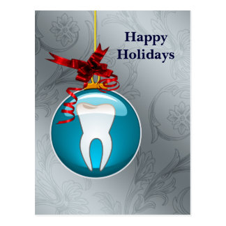 silver blue Dentist Holiday Cards Postcard