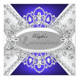 Silver & Blue Diamond Damask Quinceanera Invite