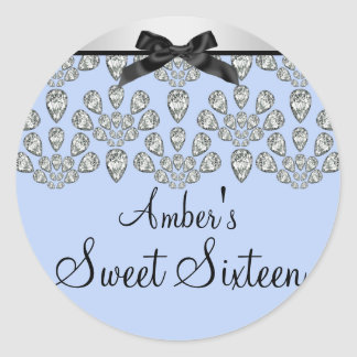 Silver & Blue Forever Diamonds Sweet 16 Sticker