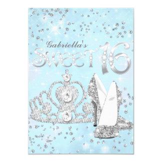 Silver Blue Glitter Tiara & Heels Sweet 16 Invite