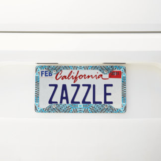 Silver Blue License Plate Frame