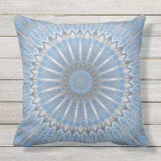 Silver Blue Mandala Outdoor Cushion