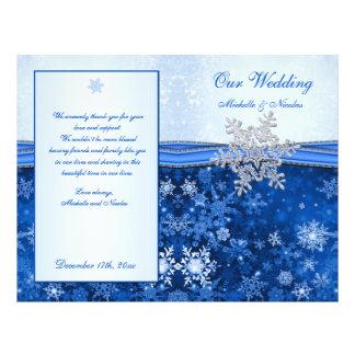 Silver blue snowflake on blue Wedding Program Flyer