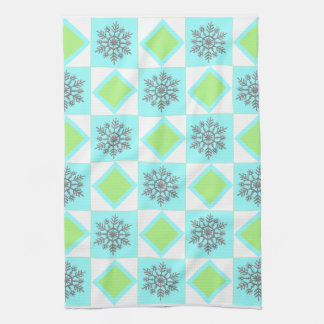 Silver & Blue Snowflake Pattern Kitchen Towel