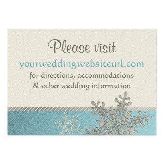 Silver Blue Snowflake Wedding Website Insert Card Business Card Templates