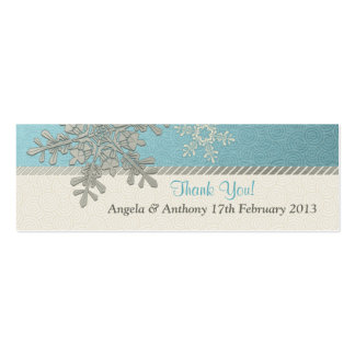 Silver Blue Snowflake Winter Wedding Favor Tags Business Card Templates