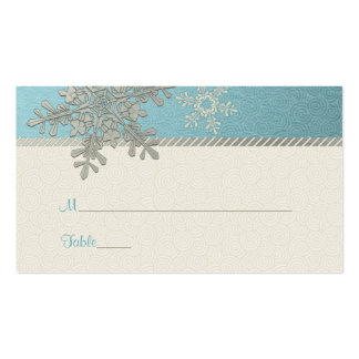 Silver Blue Snowflake Winter Wedding Place Cards Business Card Templates