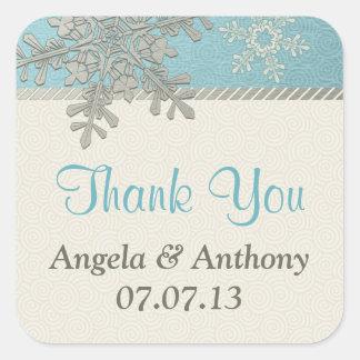 Silver Blue Snowflake Winter Wedding Stickers
