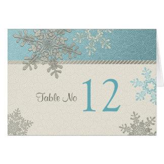 Silver Blue Snowflake Winter Wedding Table Card