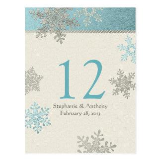 Silver Blue Snowflake Winter Wedding Table Card Postcard