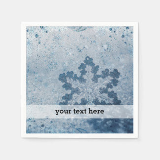 Silver blue snowflakes disposable serviettes