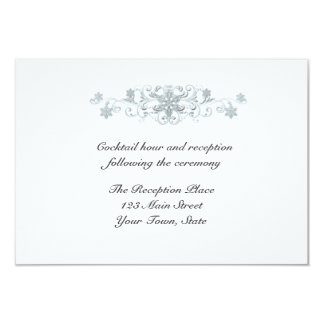 Silver Blue Snowflakes Reception Card