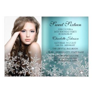 Silver Blue Sparkle Snowflake Photo Sweet 16 13 Cm X 18 Cm Invitation Card