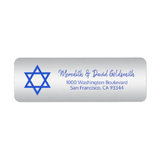 Silver Blue Star of David Mitzvah Hanukkah Return Address Label