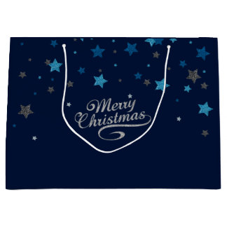Silver Blue Stars Merry Christmas Holiday Gift Bag
