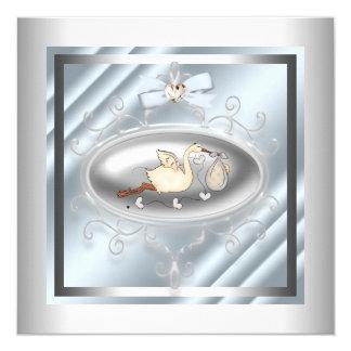 "Silver Blue Stork Baby Boy Shower 5.25"" Square Invitation Card"