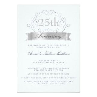 Silver & Blue Wedding 25th Anniversary Invitations