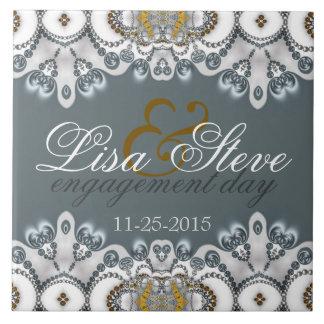 Silver Blue + White Lacy Engagement Keepsake Gift Ceramic Tile