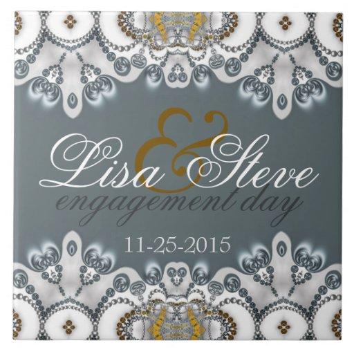Silver Blue + White Lacy Engagement Keepsake Gift Tile