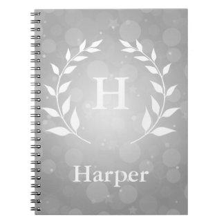 Silver Bokeh and Laurel Monogram Notebooks