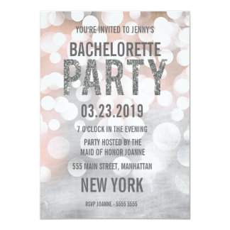 Silver Bokeh Glitter Bachelorette Party Invite