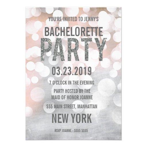Silver Bokeh Glitter Bachelorette Party Invite