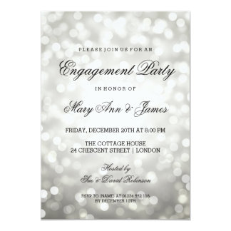 "Silver Bokeh Lights Elegant Engagement Party 5"" X 7"" Invitation Card"