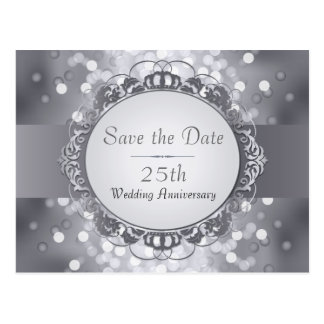 Silver Bokeh Save the Date 25th Anniversary Postcard